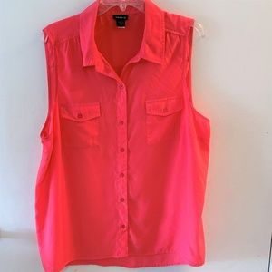 Torrid Watermelon Pink Button Sleeveless Top 2X